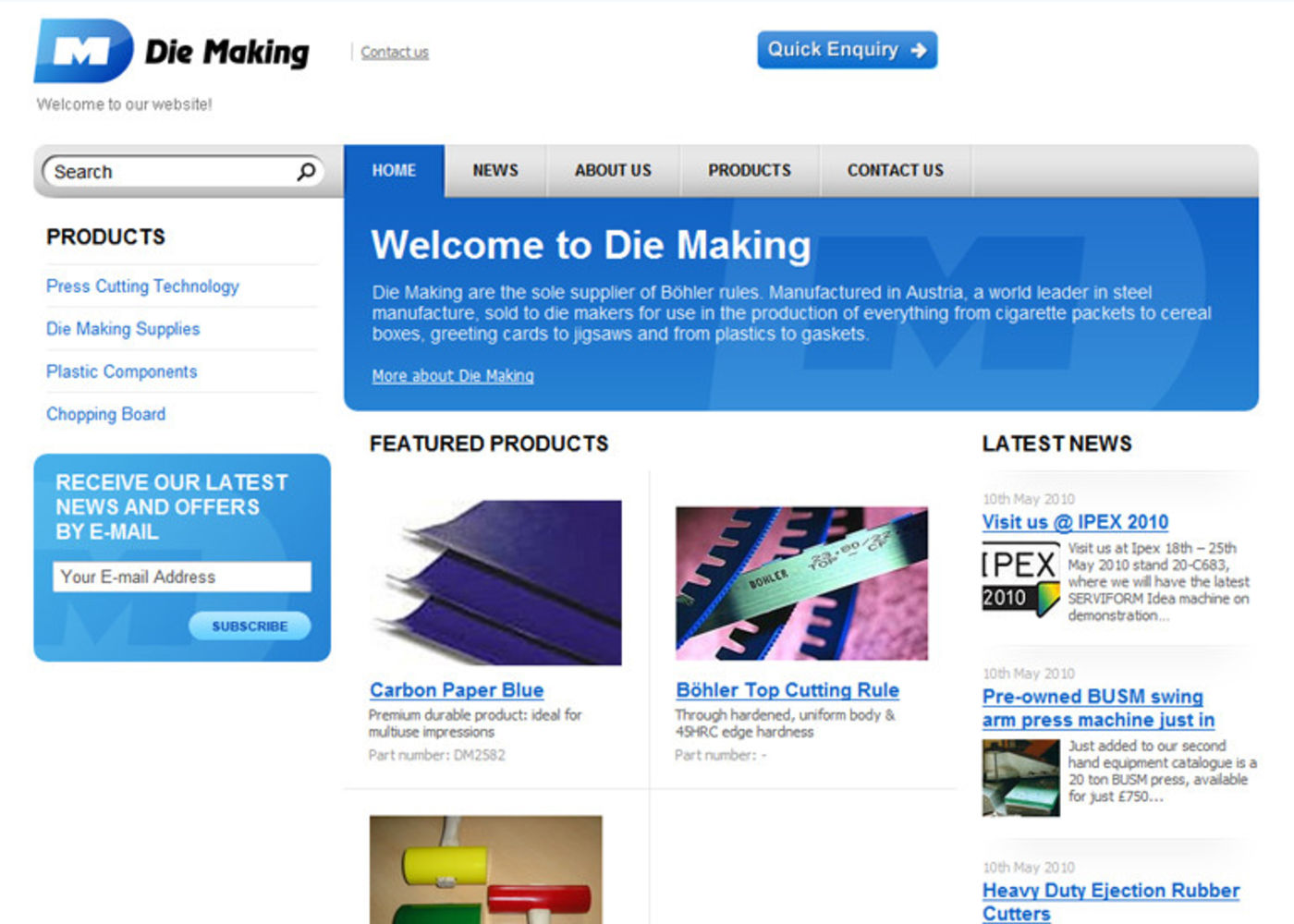 Die Making Homepage header