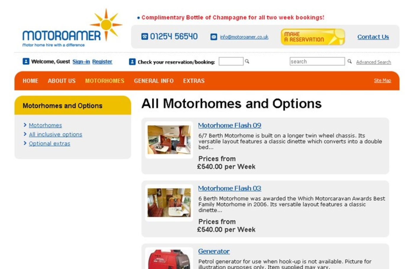 Motoroamer All Motorhomes and Options