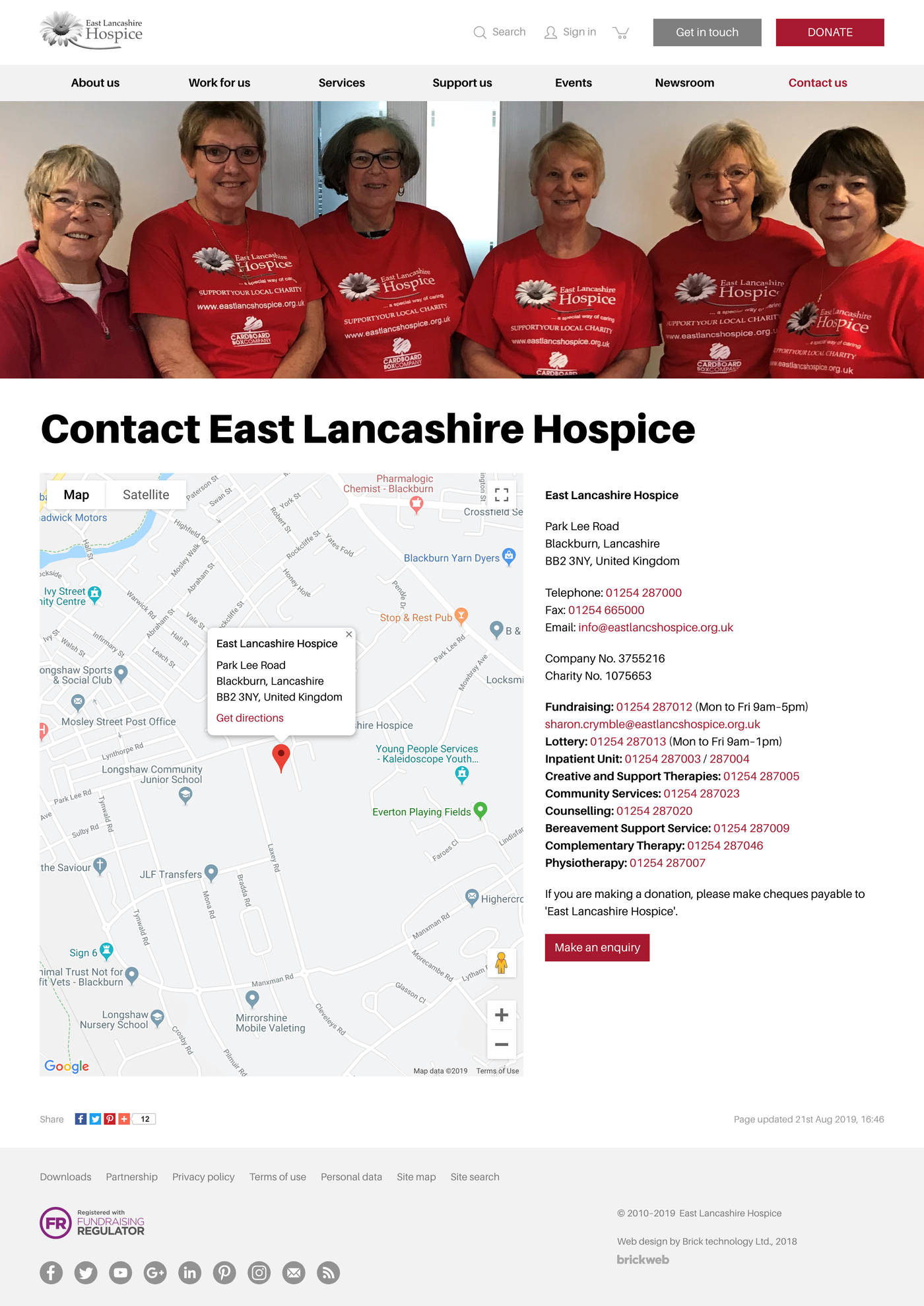 East Lancashire Hospice Сontact us