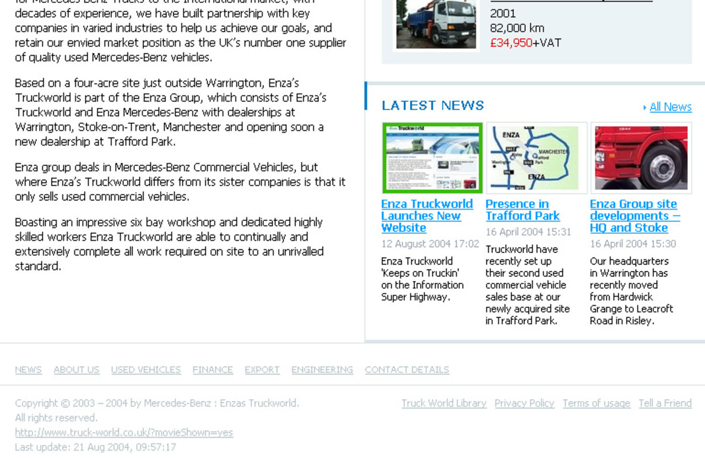 Enza's Truck World Homepage footer