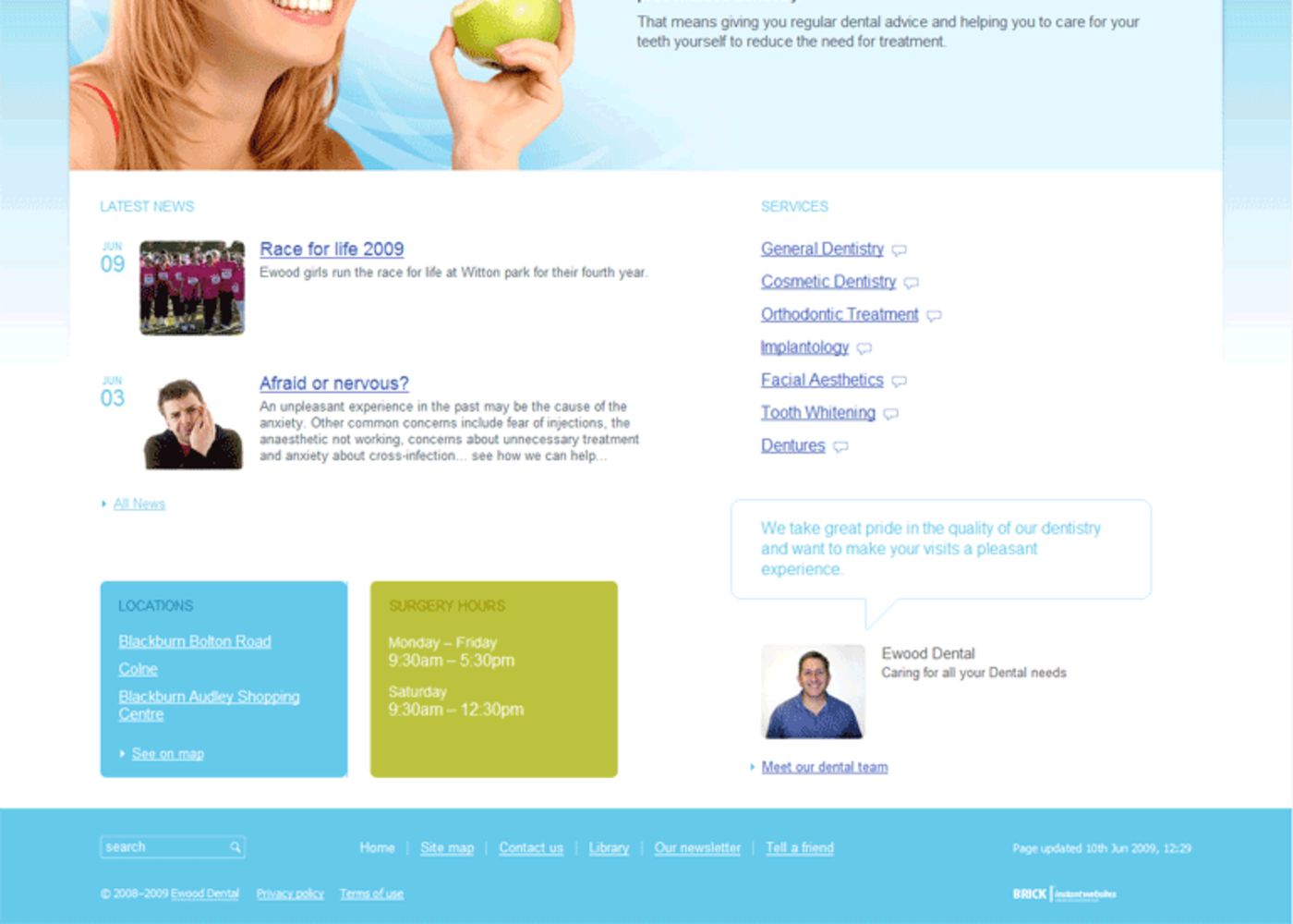Ewood Dental 2009 Homepag  footer