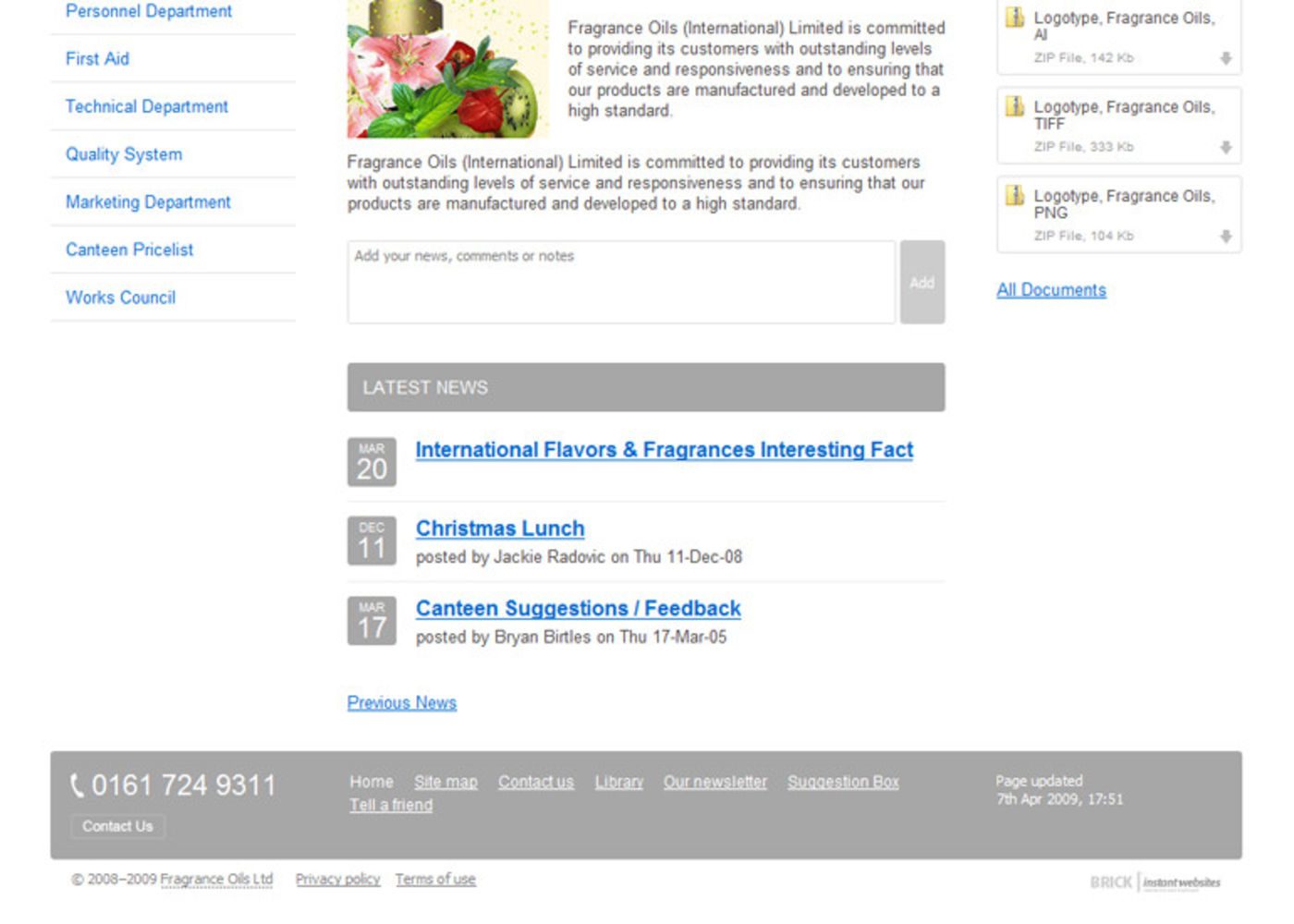 Fragrance Oils Ltd Homepage footer