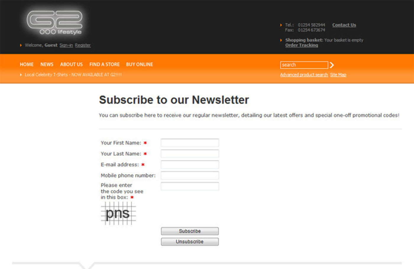 G2 Lifestyle Form: Subscribe to our Newsletter