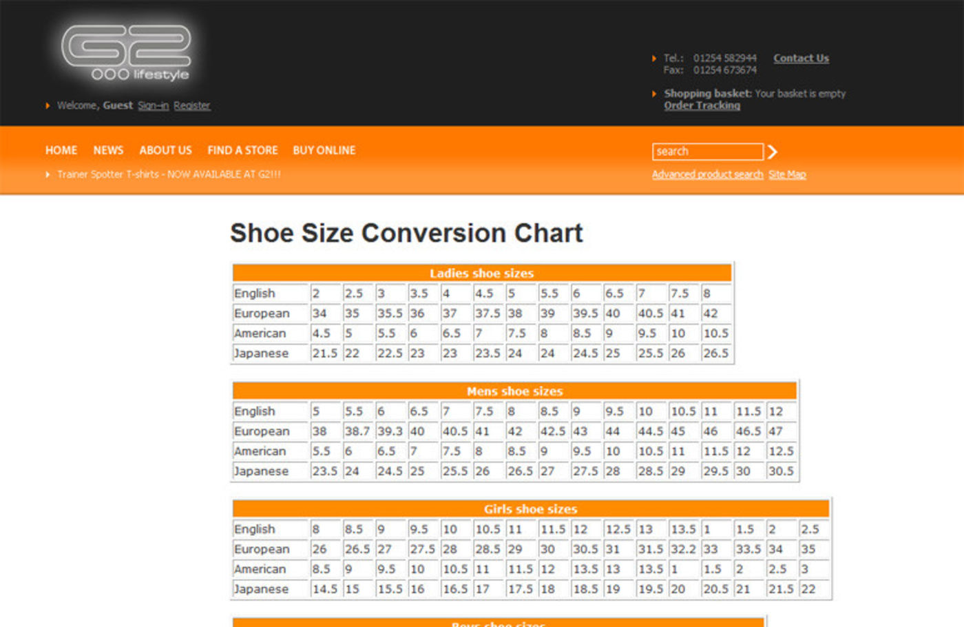 G2 Lifestyle Shoe Size Conversion Chart