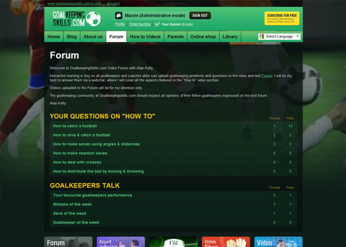 Goalkeeping Skills Forum