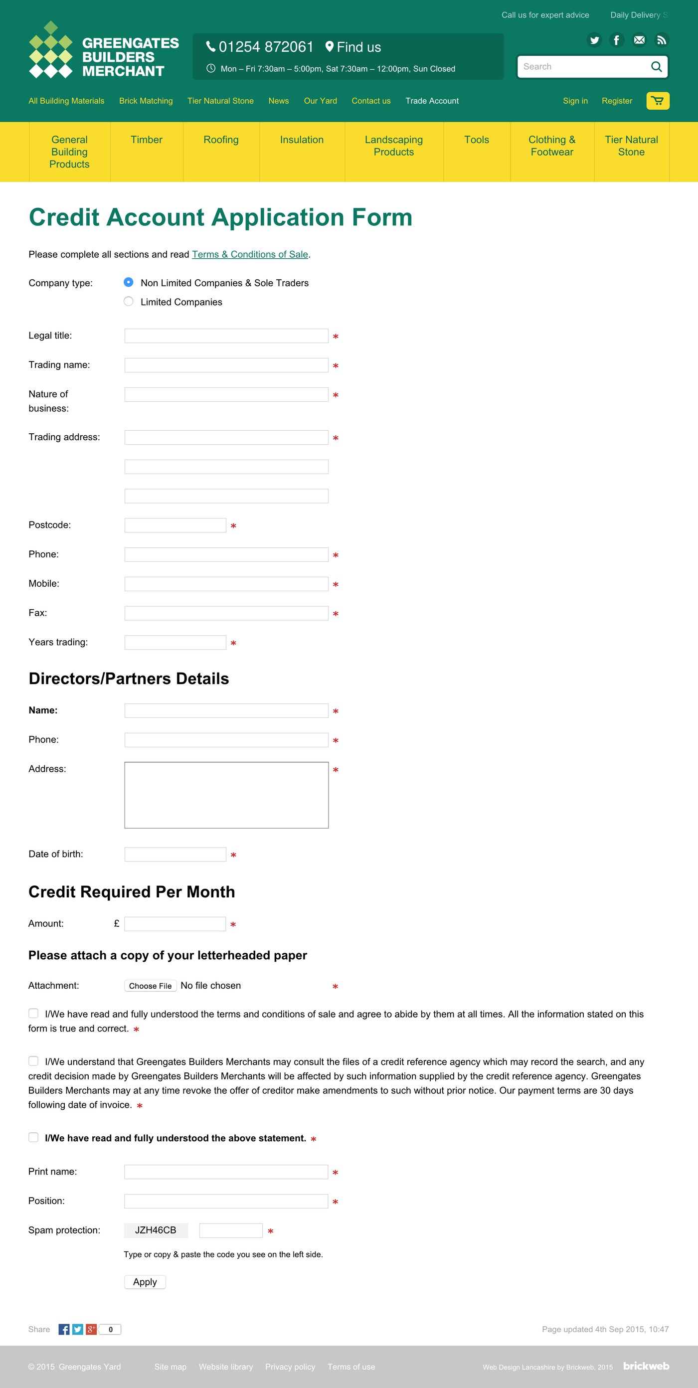 Greengates Builders Merchants 2015 Application Form