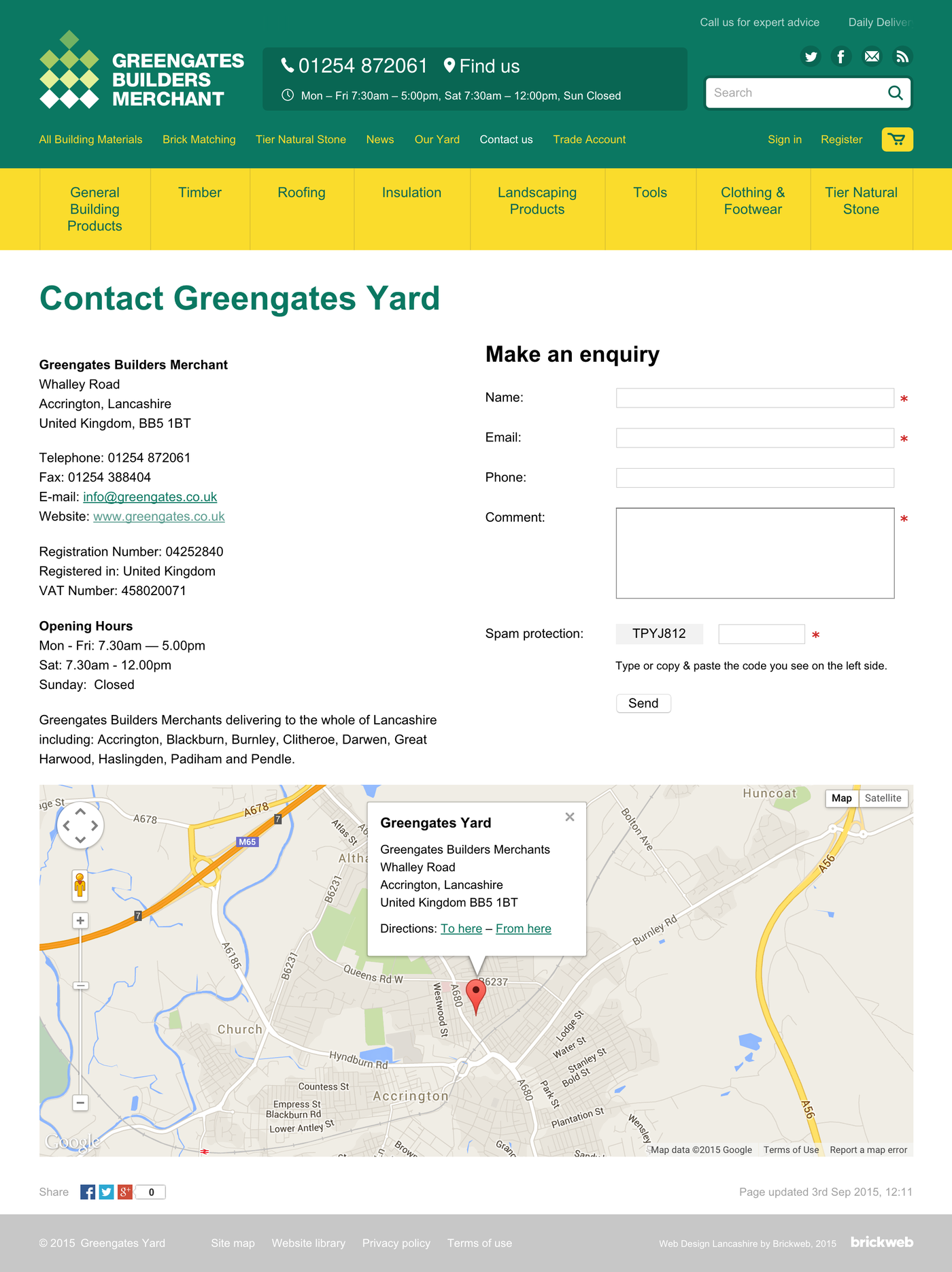 Greengates Builders Merchants 2015 Contact us