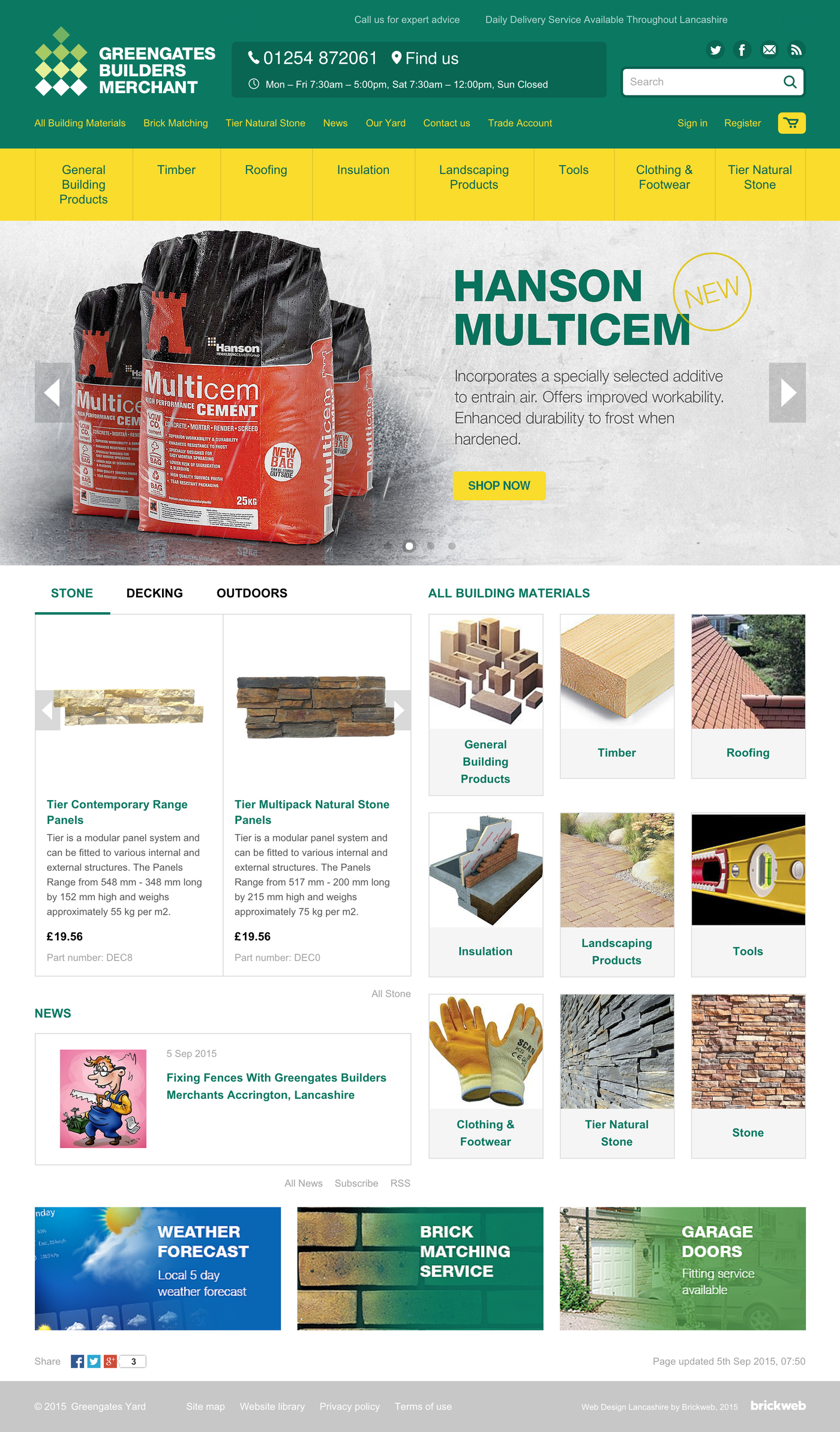Greengates Builders Merchants 2015 Home page