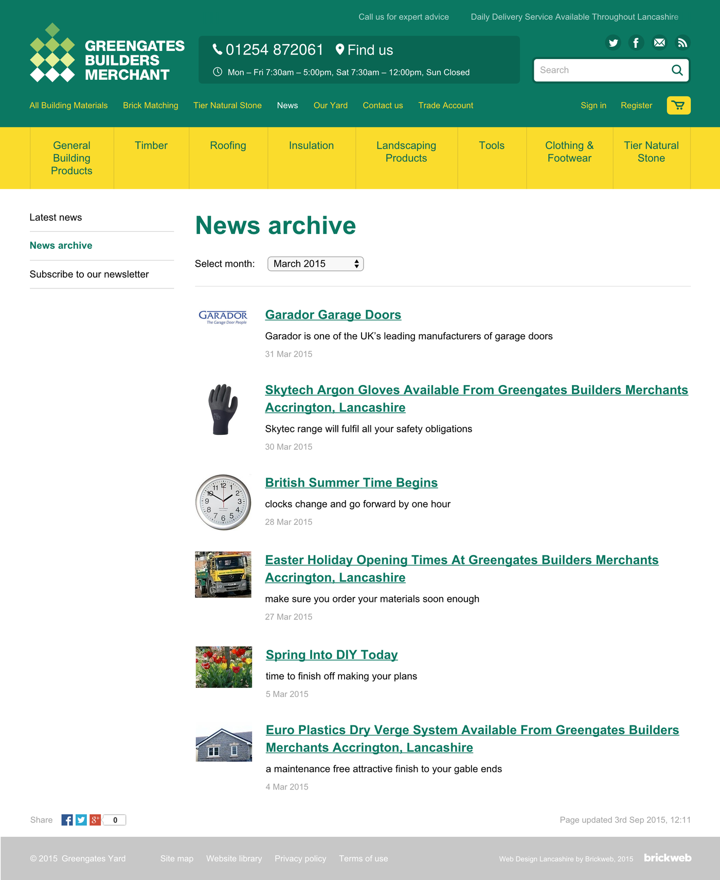 Greengates Builders Merchants 2015 News