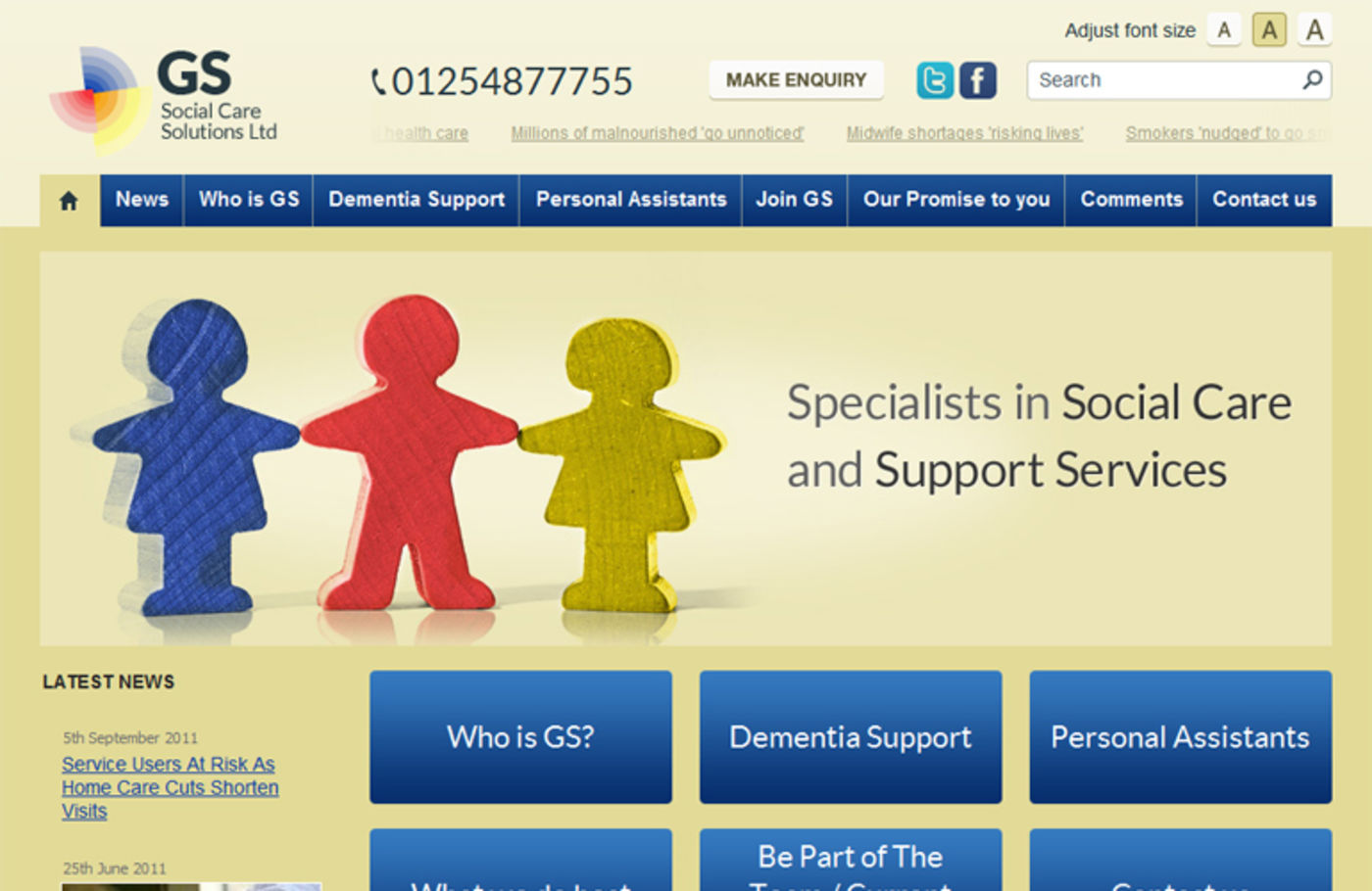GS Social Care Solutions Ltd Homepage header