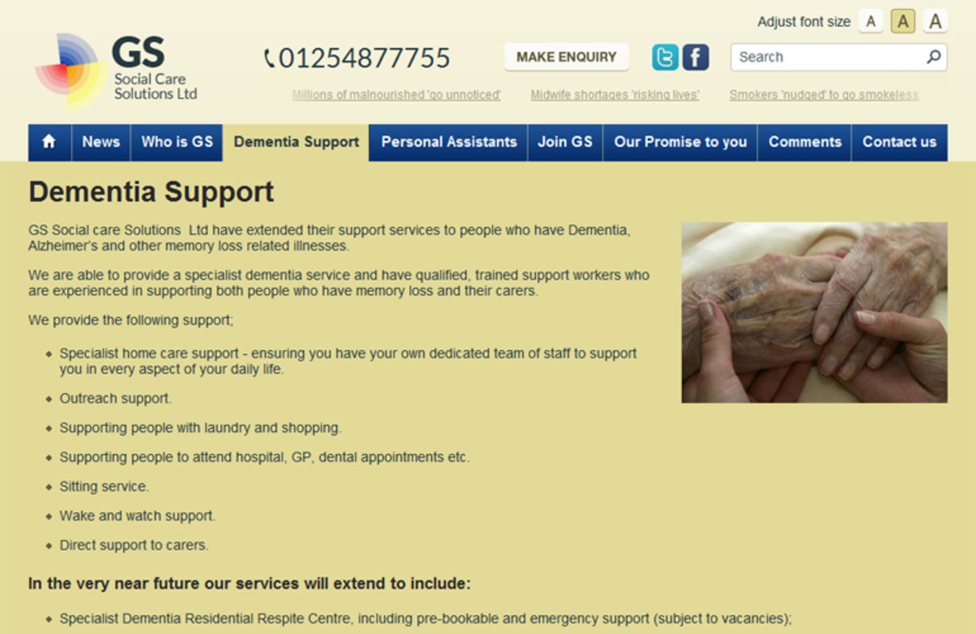 GS Social Care Solutions Ltd Regular page