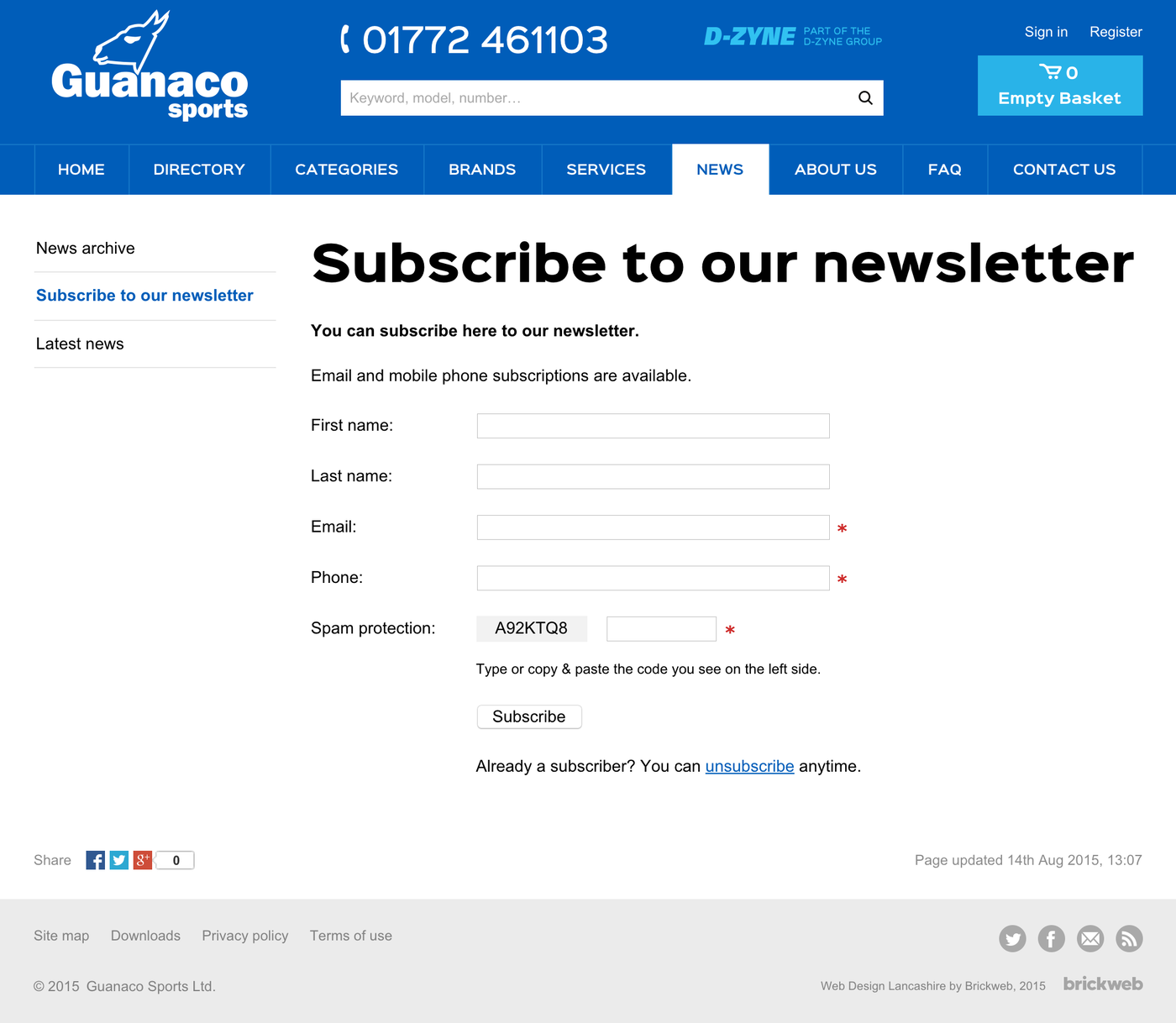 Guanaco Sports Ltd. Subscribe to our newsletter
