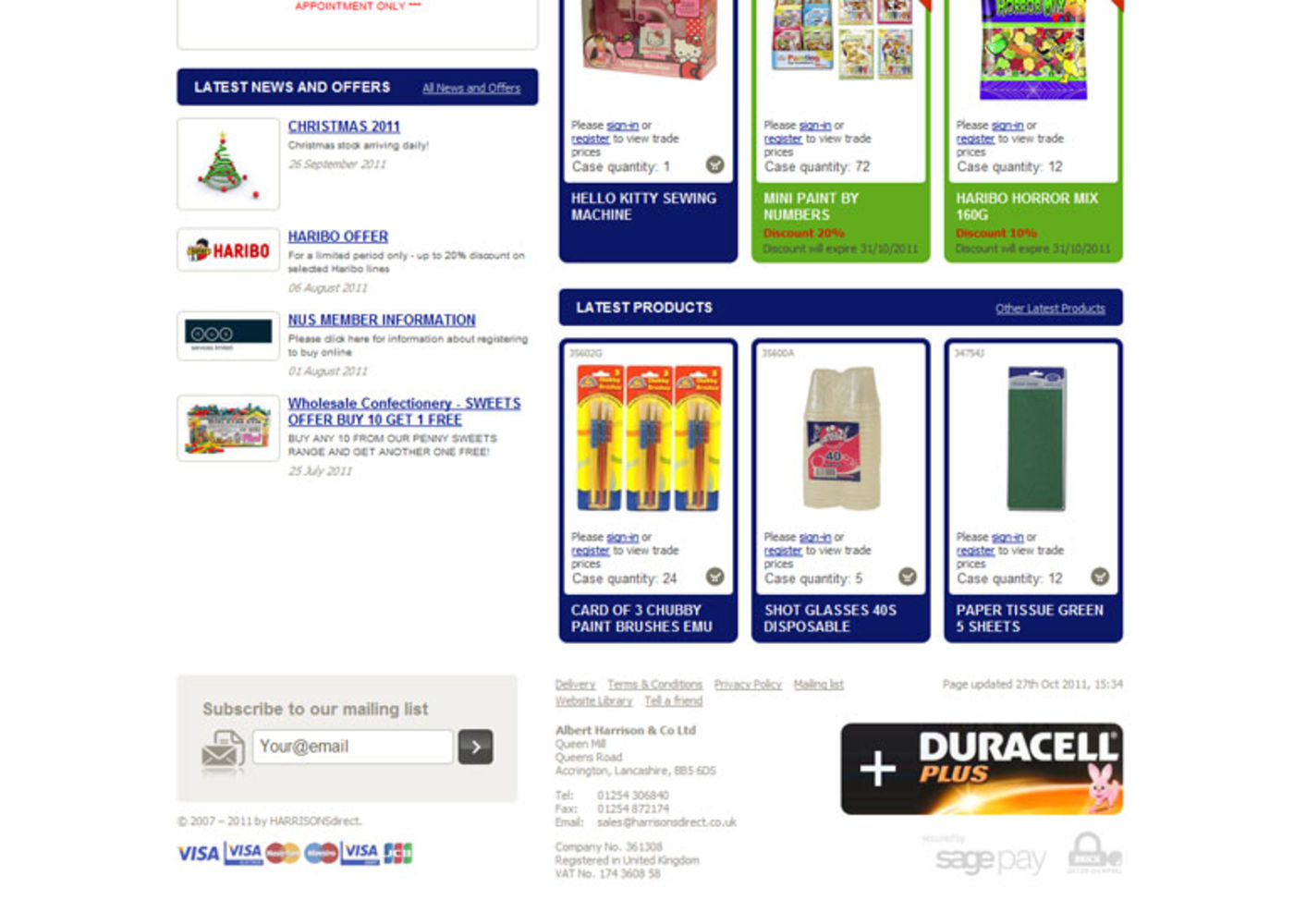 Harrisons Direct 2008 Homepage footer
