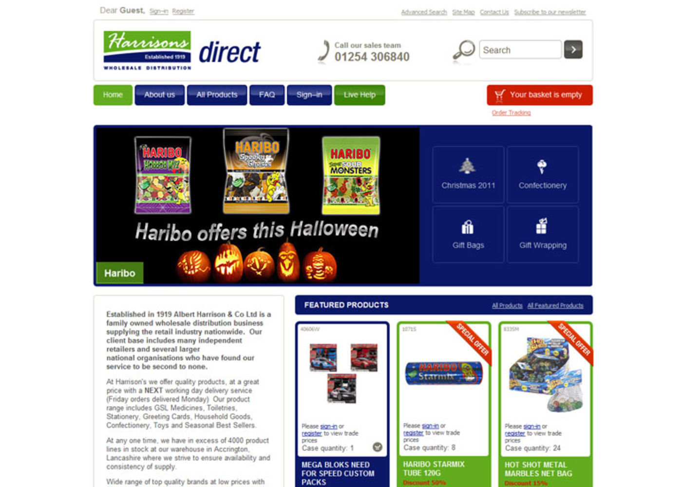 Harrisons Direct 2008 Homepage header