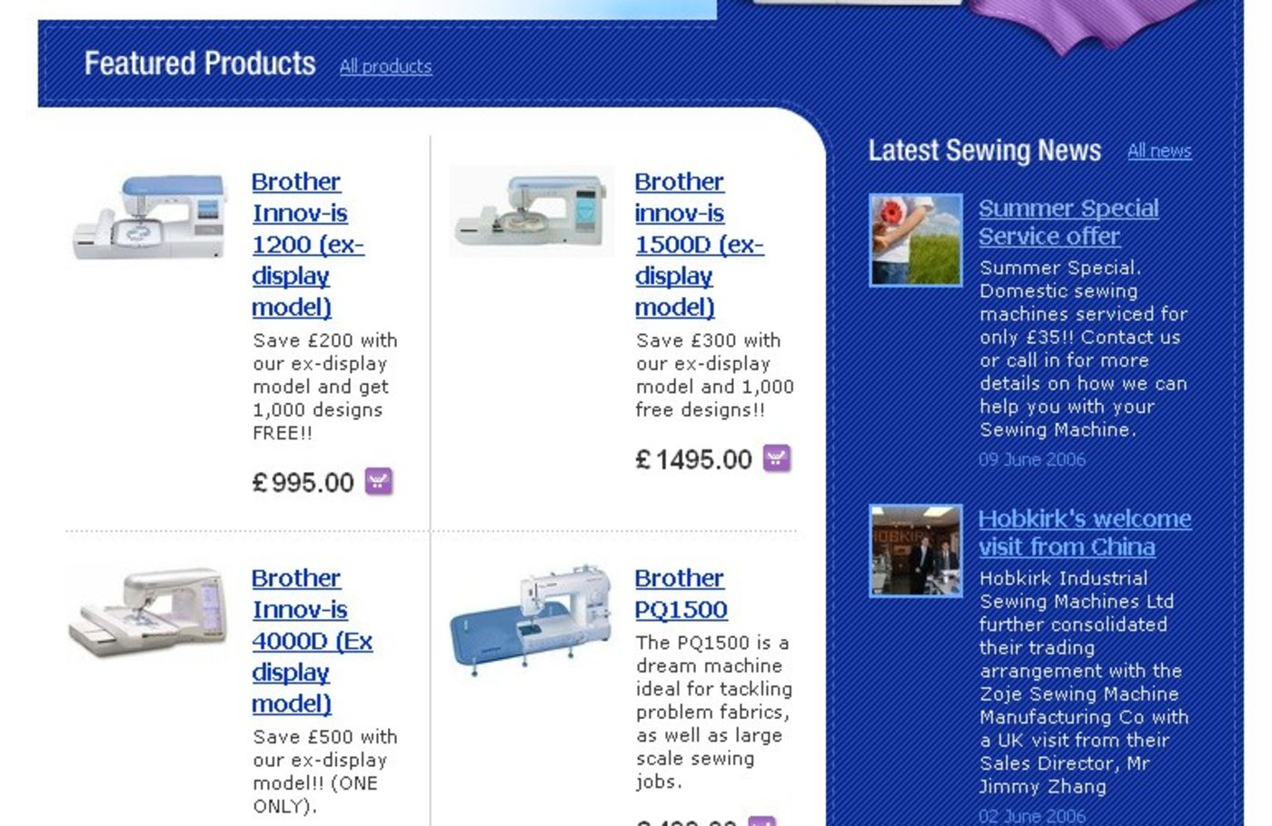 Sewing Machines from Hobkirk Homepage centre