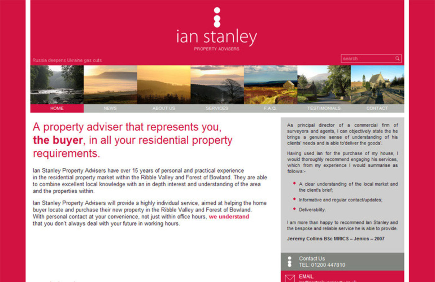 Ian Stanley Property Advisers Homepage header