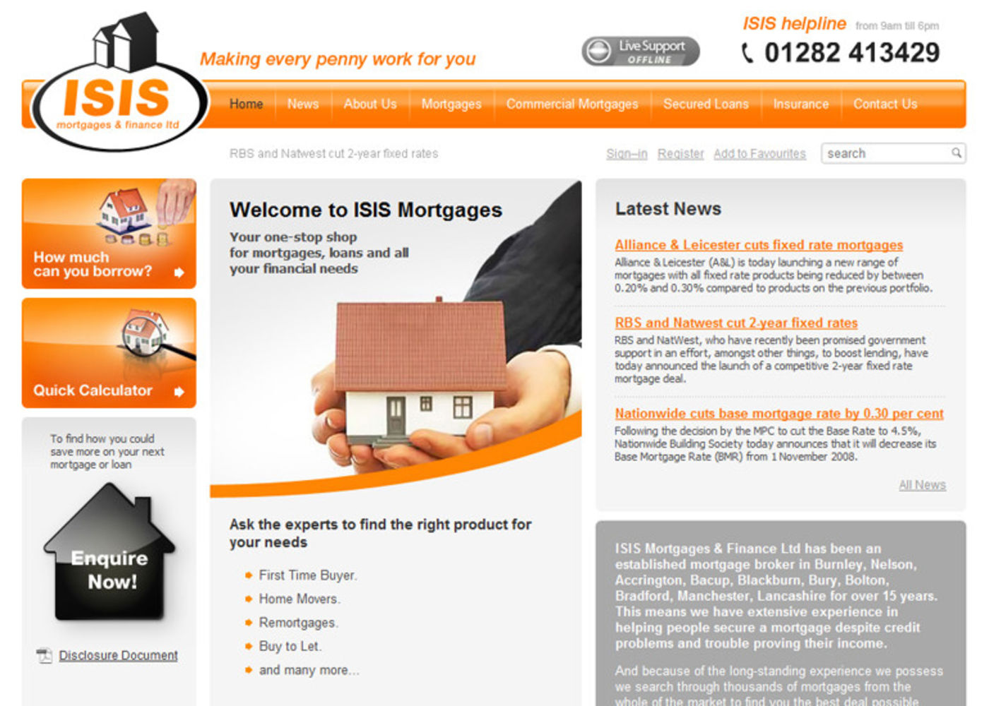 Isis Mortgages & Finance Ltd Homepage header