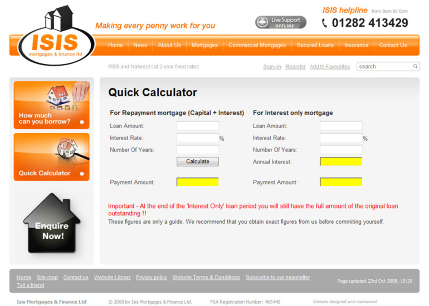 Isis Mortgages & Finance Ltd Quick Calculator