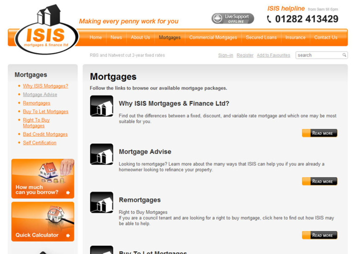 Isis Mortgages & Finance Ltd Regular page