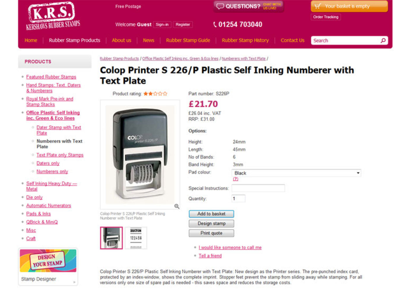 Kershaw's Rubber Stamps Product page