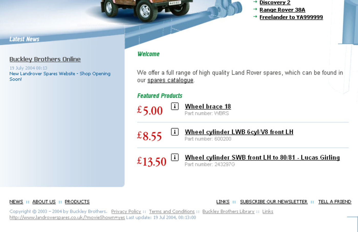 Land Rover Spares Homepage footer
