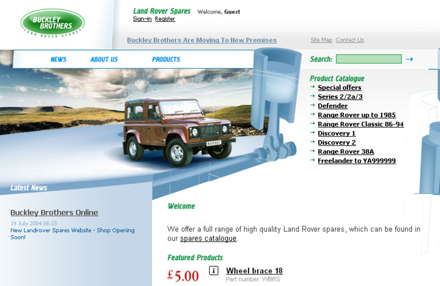 Land Rover Spares Homepage header