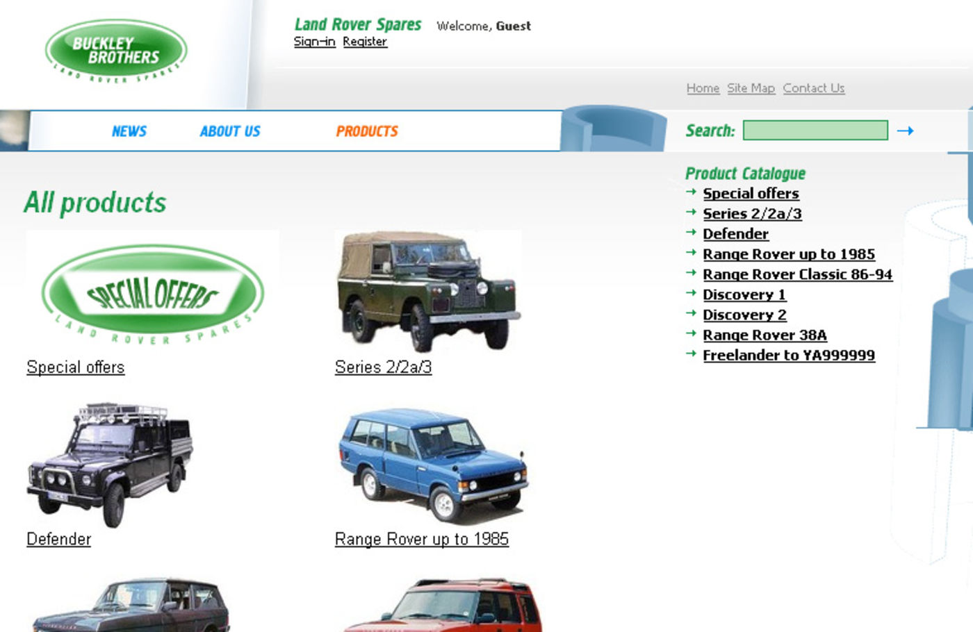 Land Rover Spares Product categories