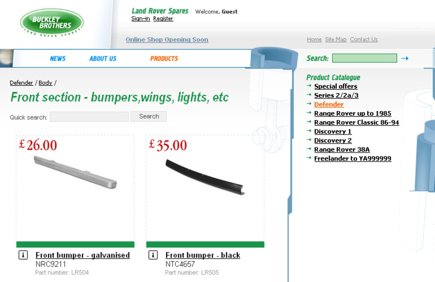 Land Rover Spares Products