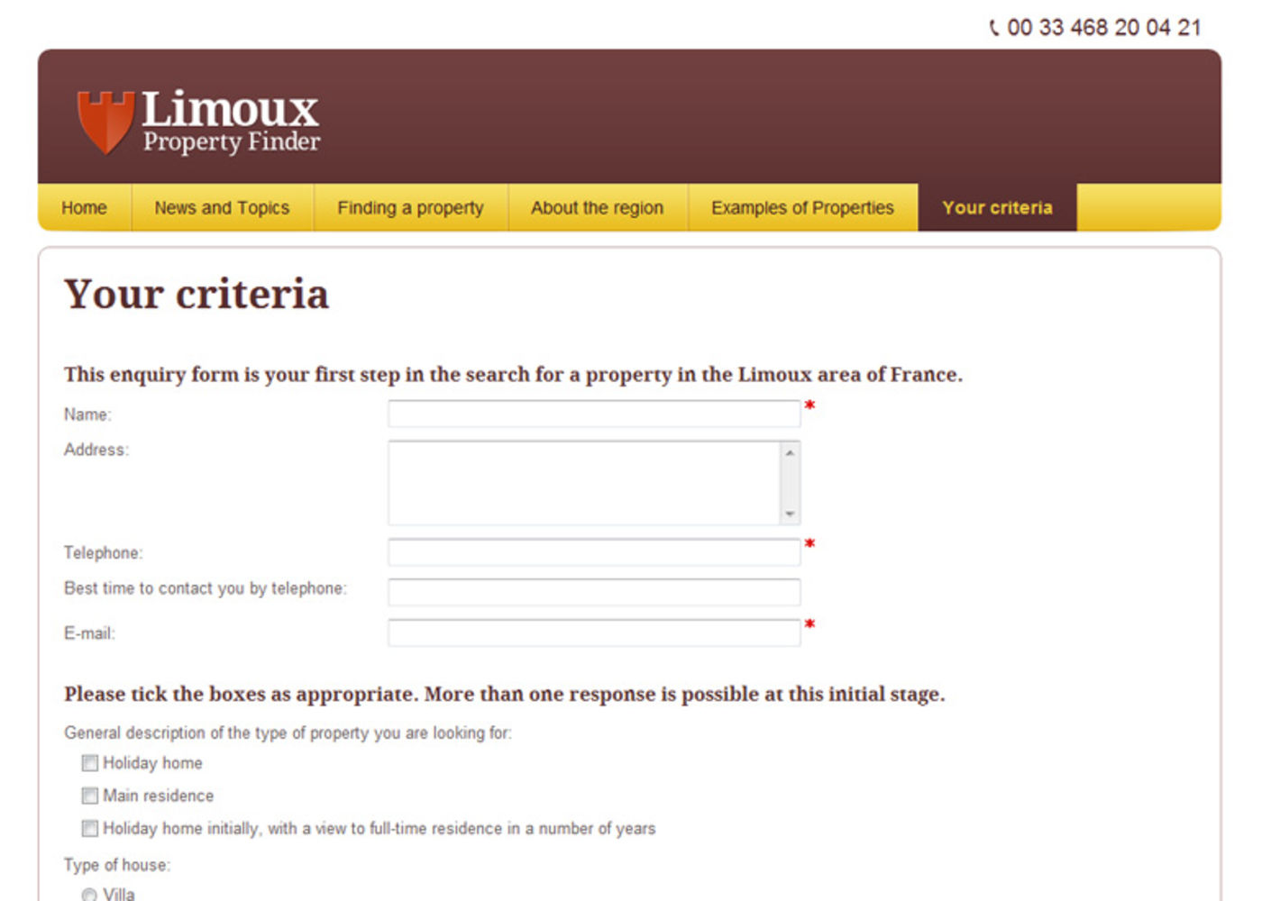 Limoux Property Finder Form - Your criteria