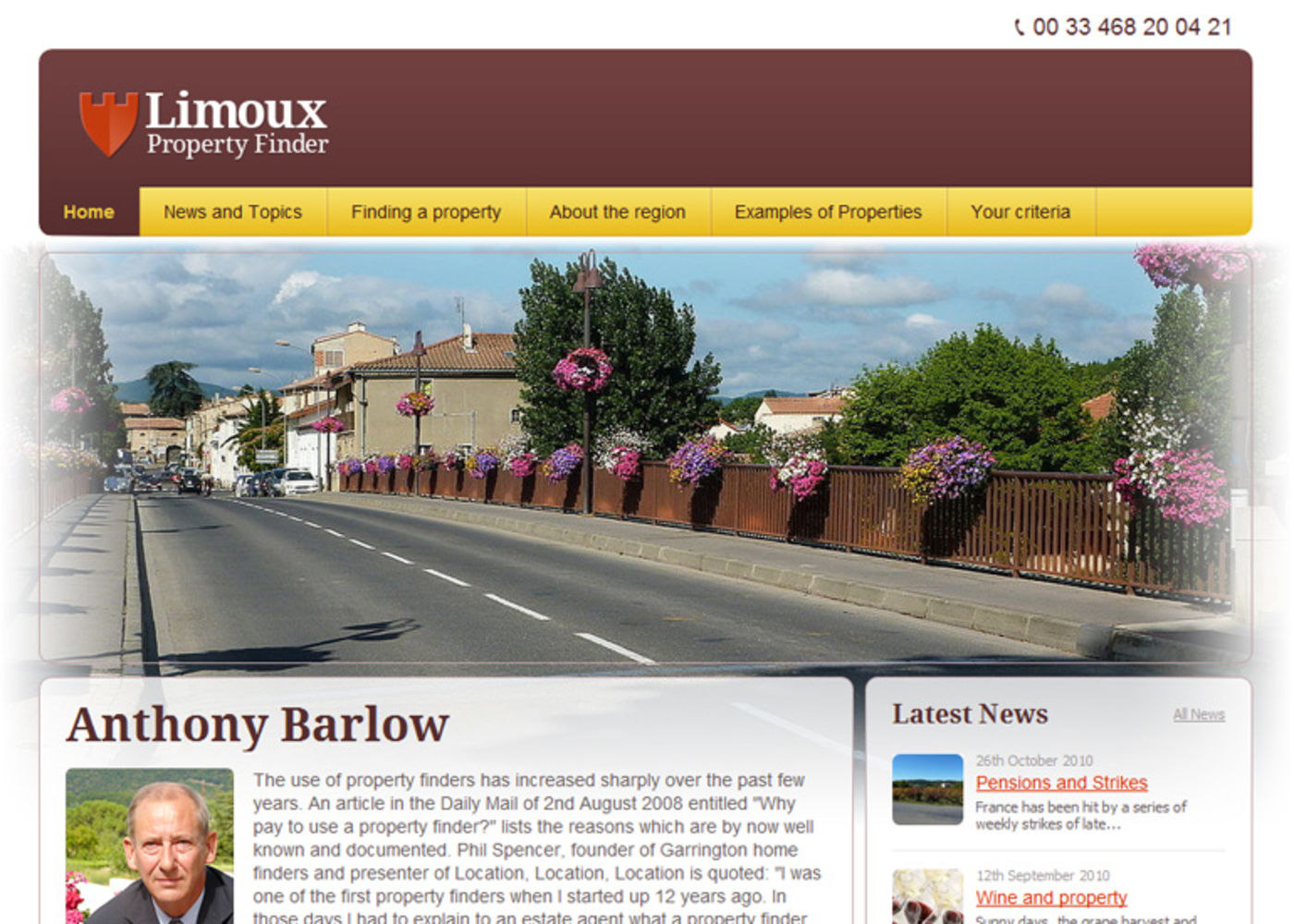 Limoux Property Finder Homepage header