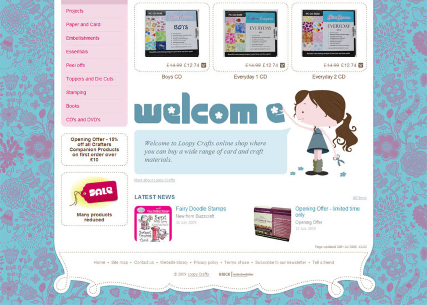 Loopy Crafts Homepage footer