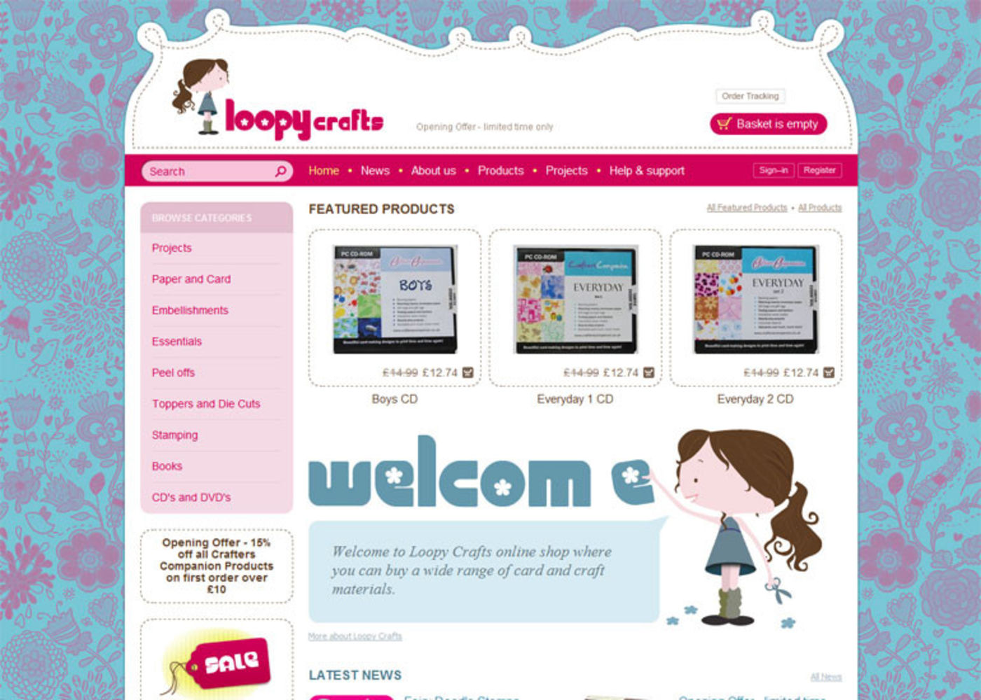 Loopy Crafts Homepage header