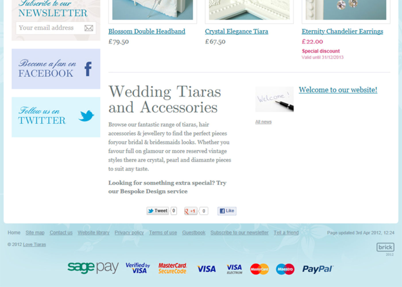 Love Tiaras Homepage footer