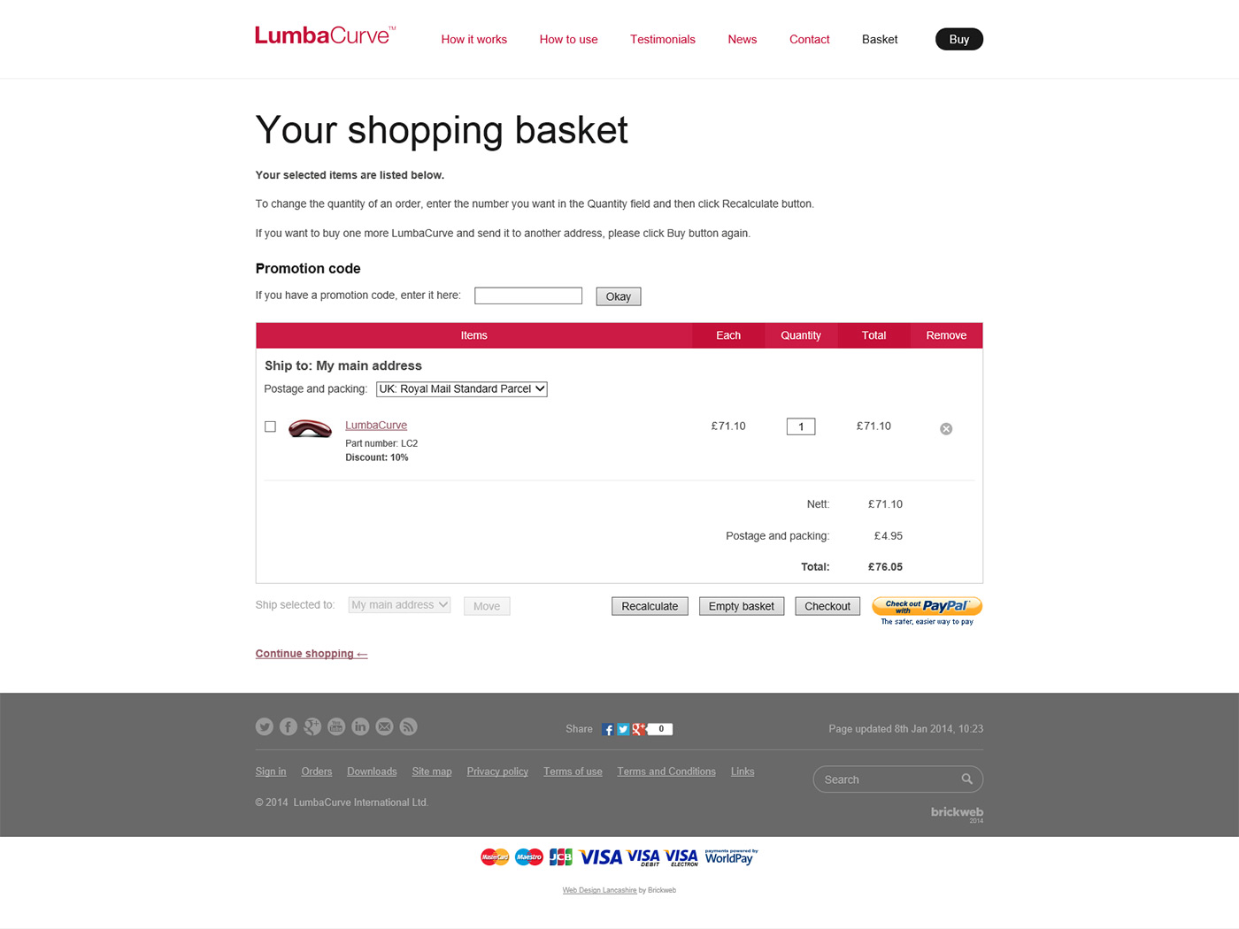 LumbaCurve Shopping basket