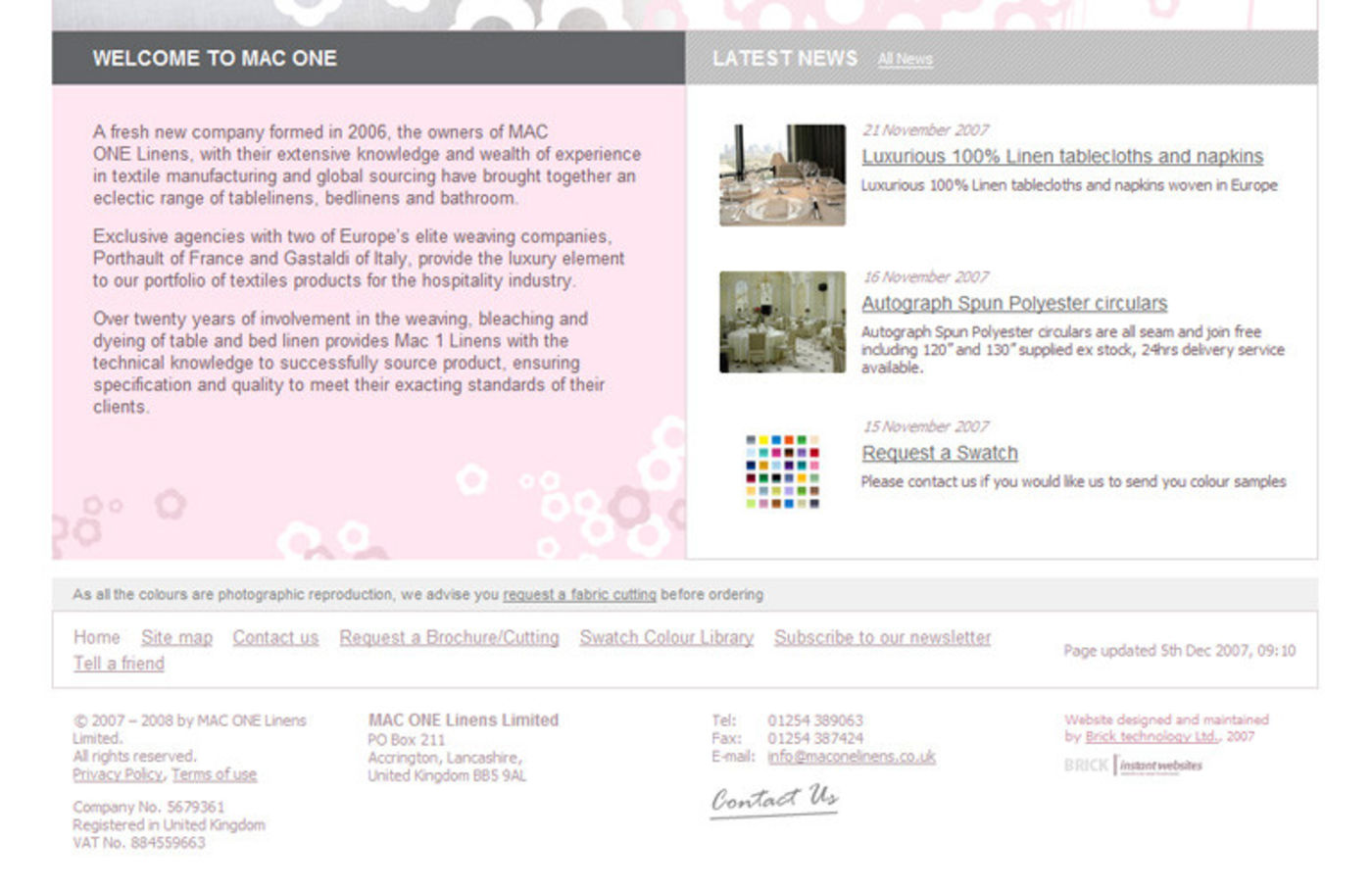 MAC ONE Linens Homepage footer