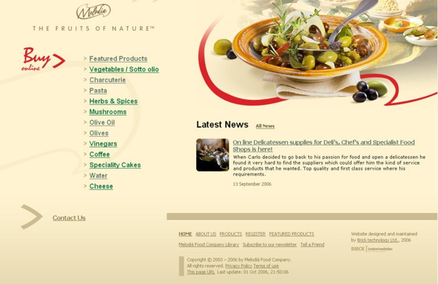 Melodià Food Company Homepage footer