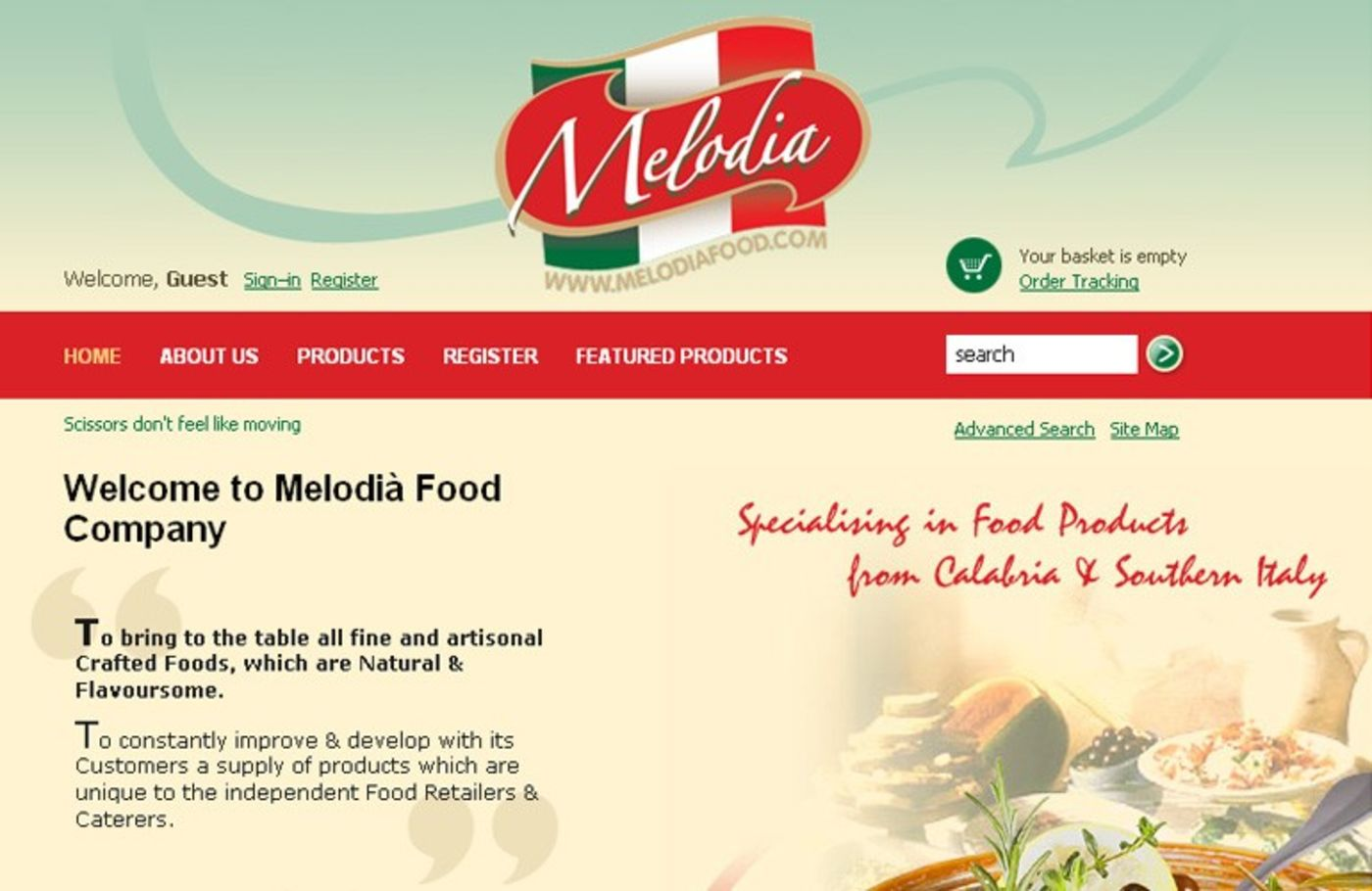 Melodià Food Company Homepage header