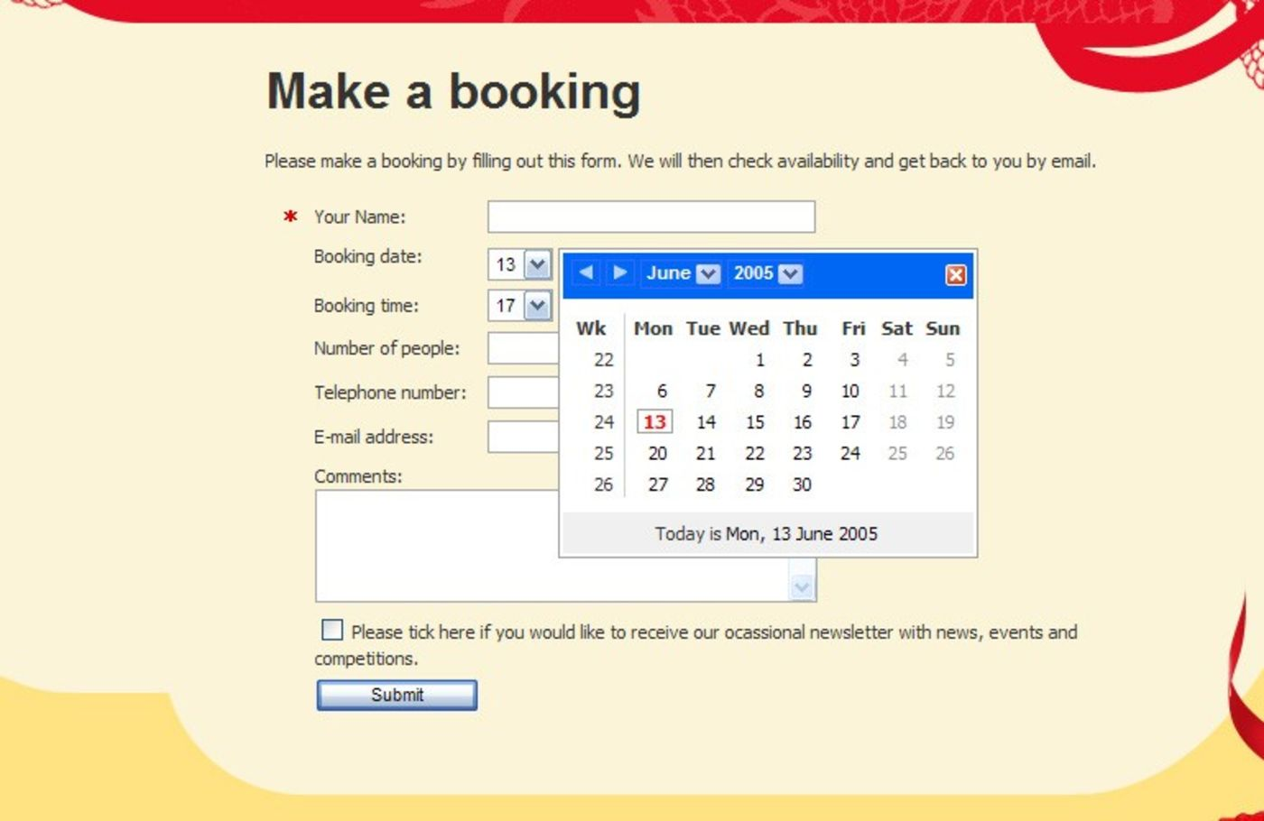 Mister Fu's Cantonese Restaurant Booking form