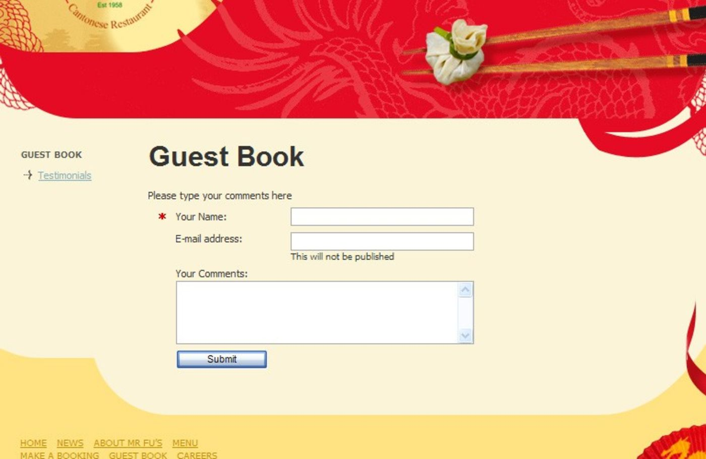 Mister Fu's Cantonese Restaurant Guestbook