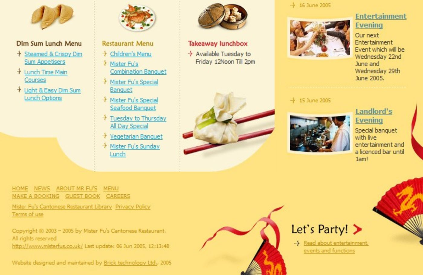 Mister Fu's Cantonese Restaurant Homepage footer