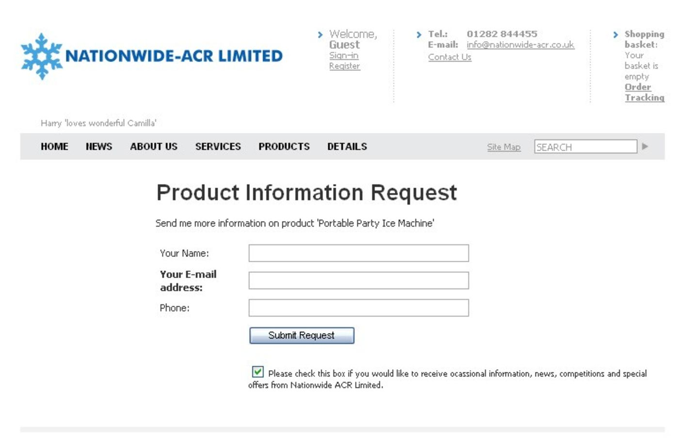 Nationwide ACR Limited Product information request