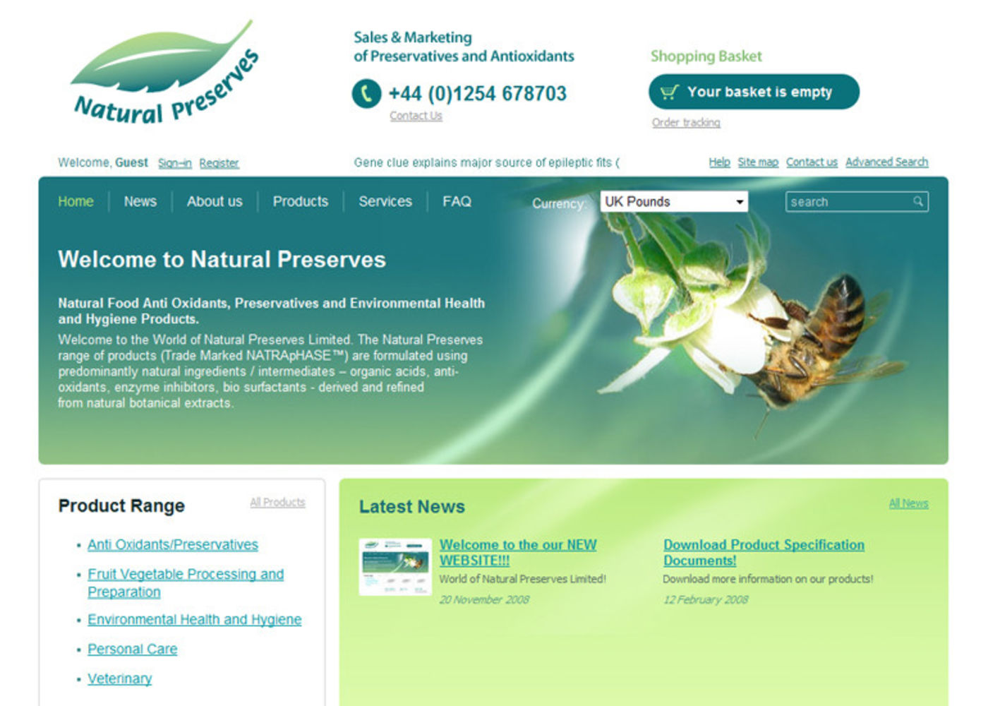 Natural Preserves Limited Homepage header