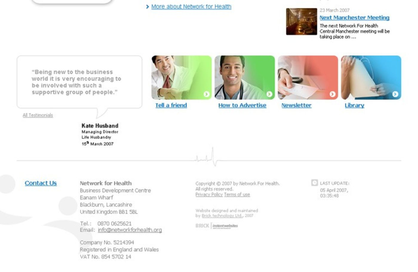Network For Health Homepage footer