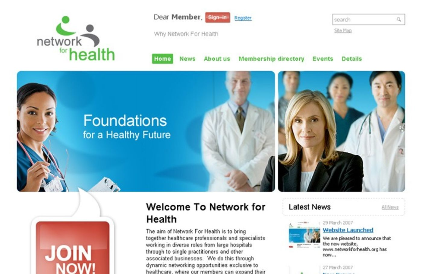 Network For Health Homepage header