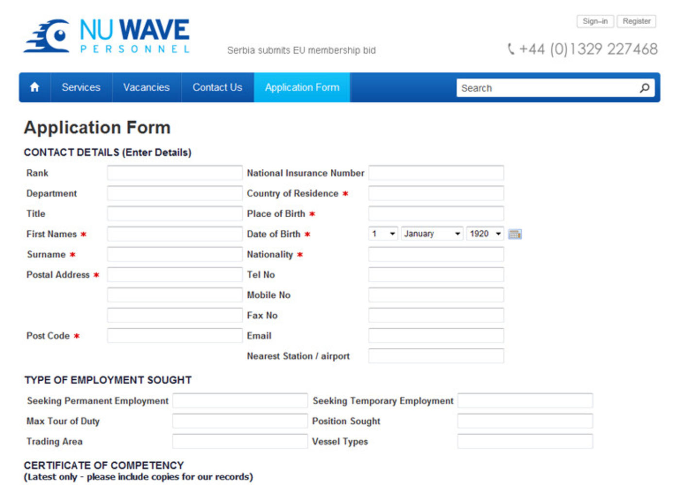 NuWave Personnel Application Form