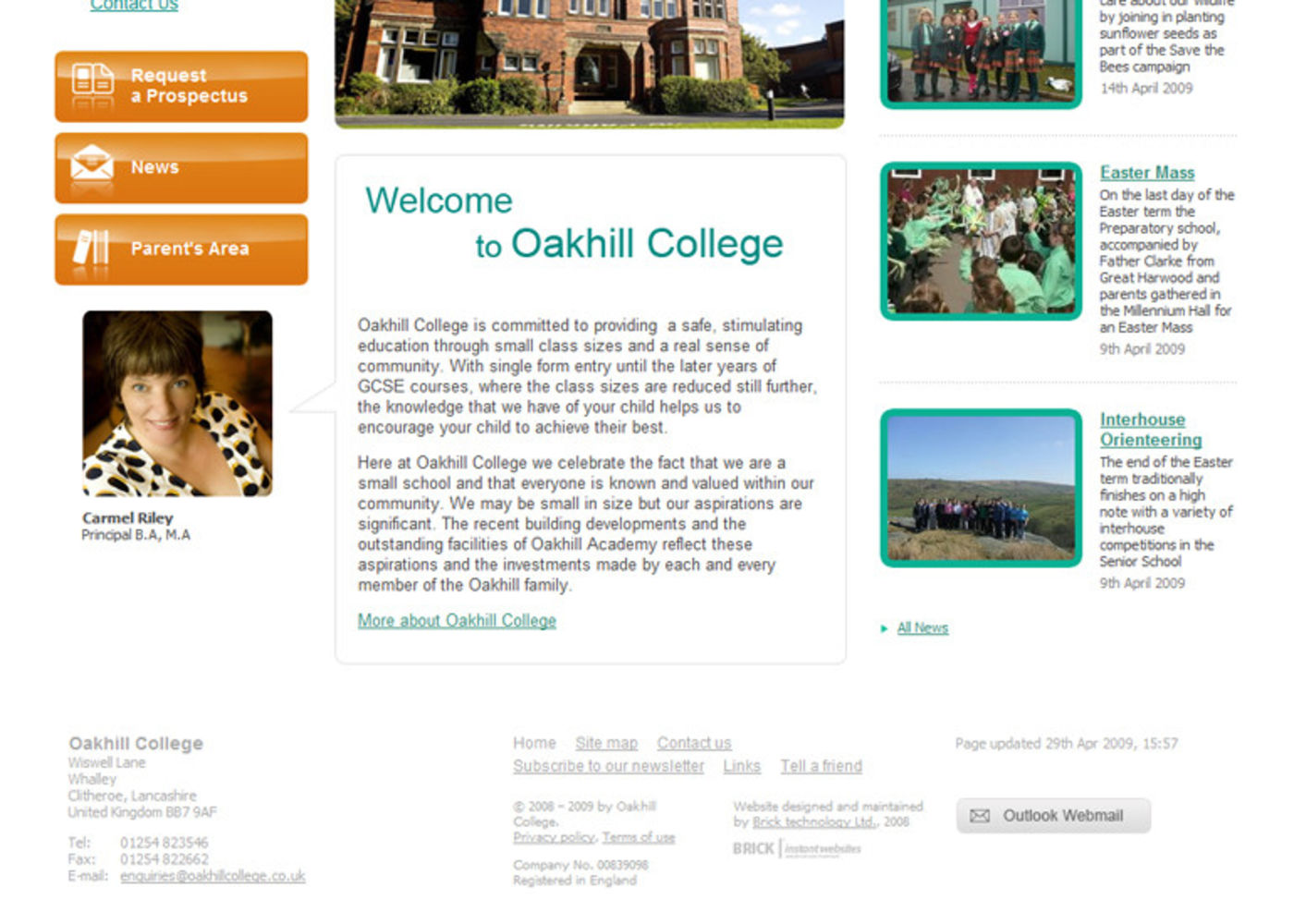 Oakhill College Homepage footer