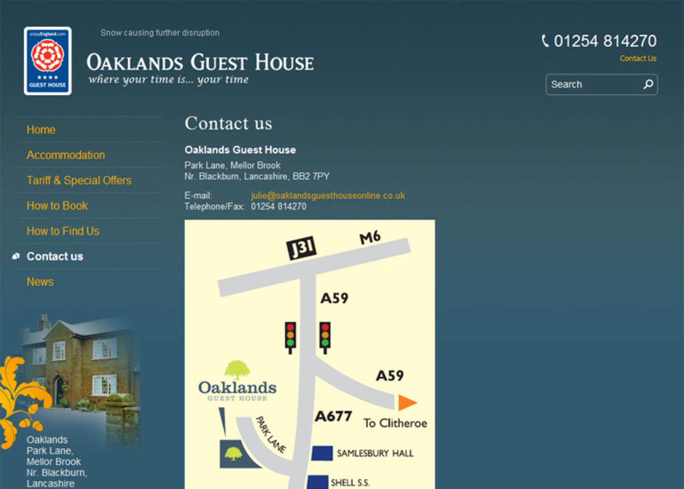 Oaklands Guest House Contact us