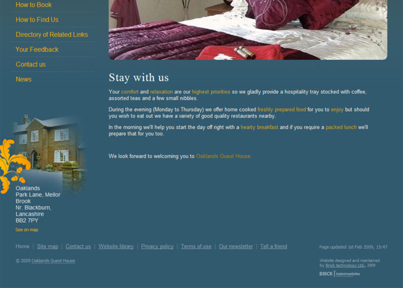 Oaklands Guest House Homepage footer