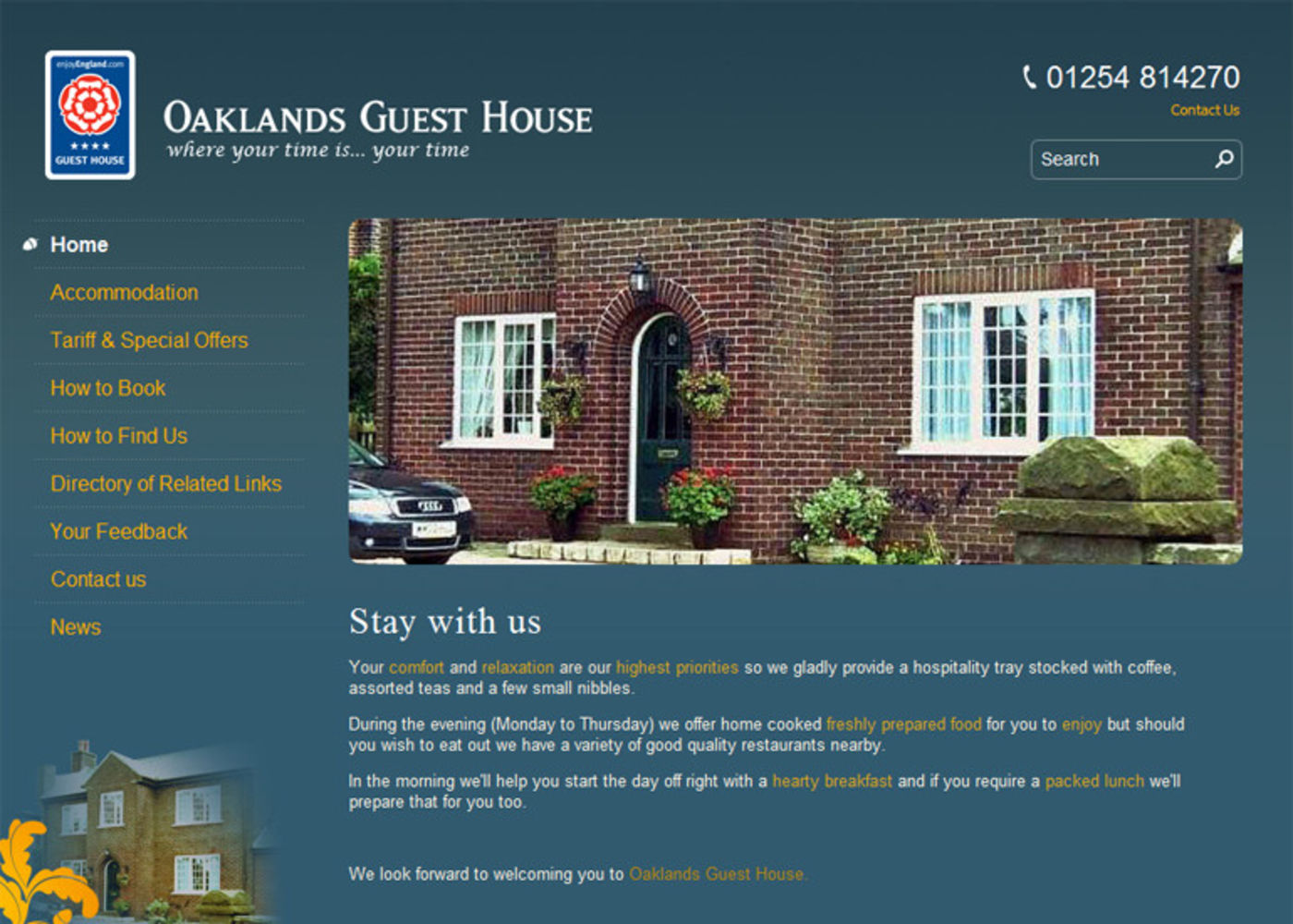 Oaklands Guest House Homepage header