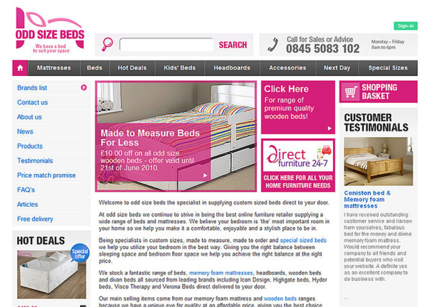 Odd Size Beds Homepage header